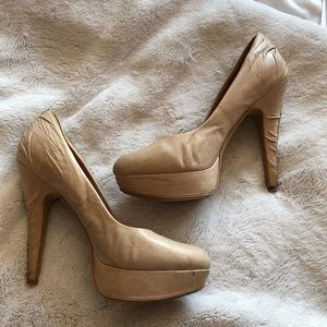 Vince camuto leather nude heels